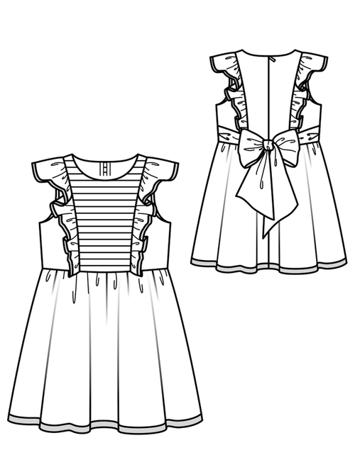 DRESS WITH LUGE SKIRT AND WINGED SLEEVES 3